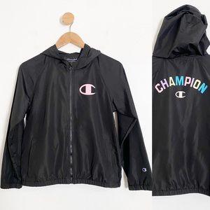 Champion Black Colorful Logo Hooded Windbreaker